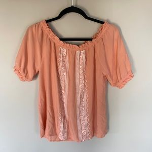 Cruel Girl Coral Embroidered Off Shoulder Blouse